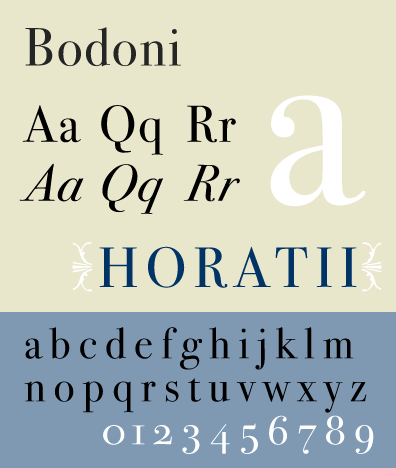 Specimen of the typeface ITC Bodoni, Jim Hood